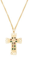 """Kenneth Jay Lane Women's Gold Chain Satin Cross Necklace, 24"""""""