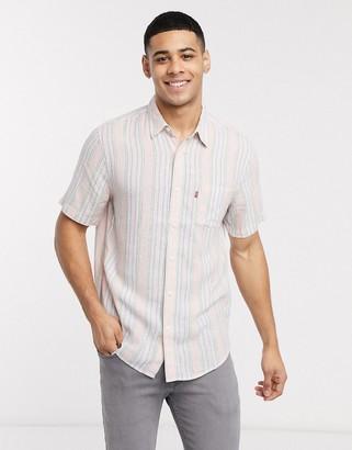 Levi's Sunset 1 pocket stripe short sleeve shirt regular fit in white