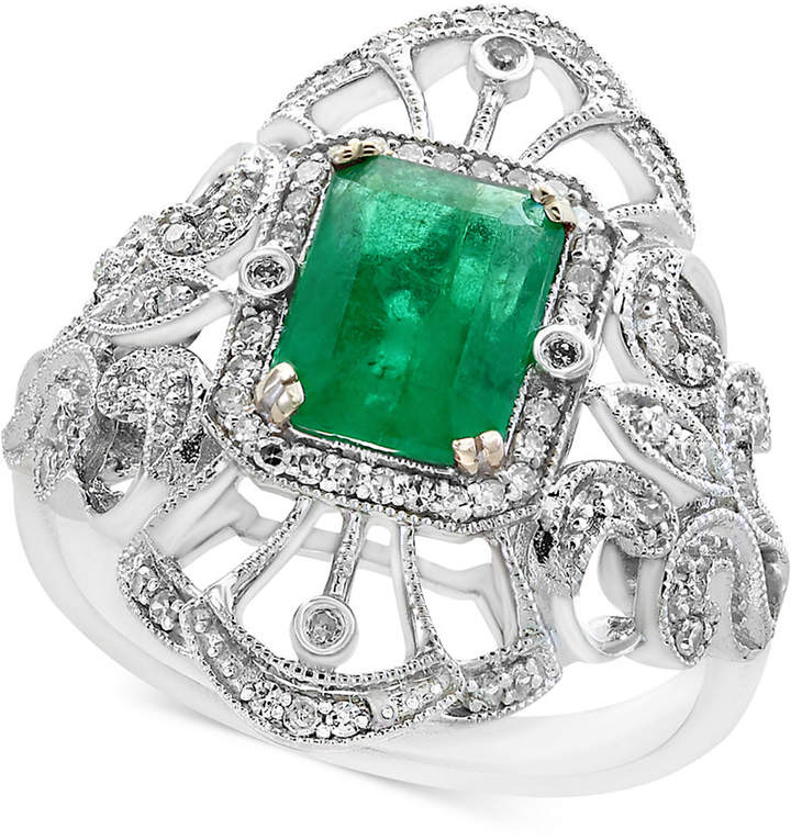 Effy Brasilica by Emerald (1-3/8 ct. t.w.) and Diamond (1/5 ct. t.w.) Ring in 14k White Gold, Created for Macy's