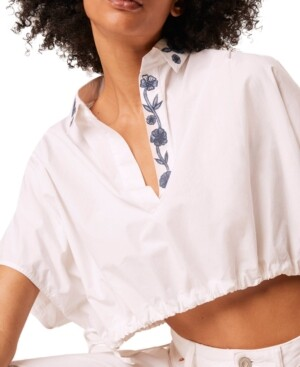 Thumbnail for your product : French Connection Zain Poplin Embroidered Top