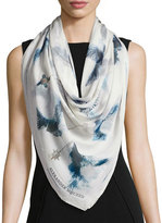 Alexander McQueen Bleached Hummingbird Square Silk Scarf,
