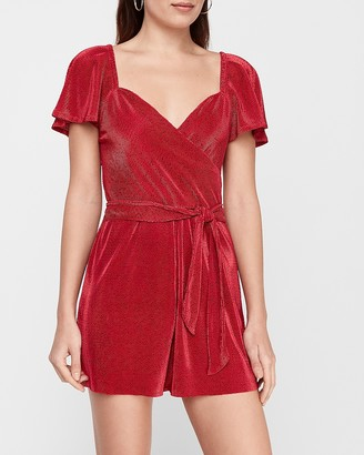 Express Pleated Tie Wrap Front Romper