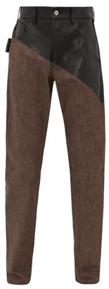 Bottega Veneta Bonded Leather-panel Cotton Jeans - Brown
