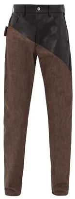 Bottega Veneta Bonded Leather-panel Cotton Jeans - Mens - Brown
