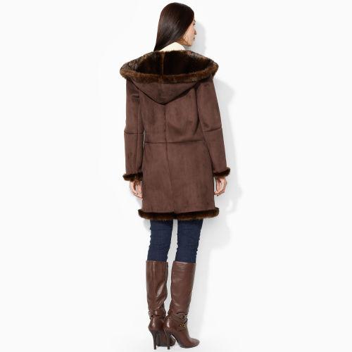 Ralph Lauren Hooded Faux-Shearling Coat