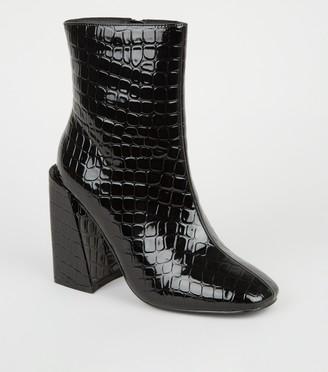 New Look Faux Croc Flared Block Heel Boots