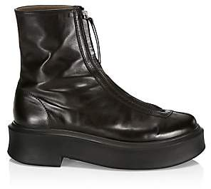 21f961875ea Women's Zippered Platform Leather Combat Boots