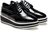 D2C Beauty Women's High Platform Patent Leather Lace Up Flats Fashion Sneakers- 6 M US