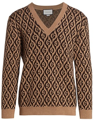Gucci G Rhombus Jacquard V-Neck Sweater