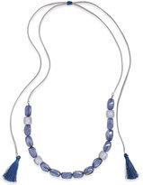 INC International Concepts Blue Resin Stones Adjustable Tassel Necklace, Only at Macy's