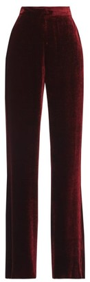Etro High-rise Velvet Wide-leg Trousers - Dark Red