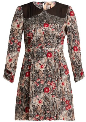 No.21 No. 21 - Floral-print Embellished Silk Mini Dress - Womens - Red Multi