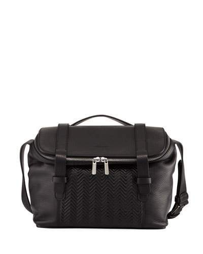 Giorgio Armani Men's Chevron-Front Deerskin Messenger Bag