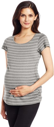 Three Seasons Maternity Women's Maternity Short Sleeve Side Ruche Tee