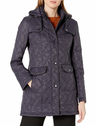 Larry Levine Women's Swirl Quilt Coat with Detachable Hood and Pockets