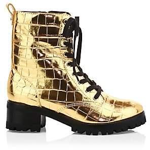 Schutz Women's Zumira Metallic Croc-Embossed Leather Combat Boots