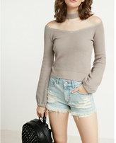 Express sweetheart neckline pullover choker sweater