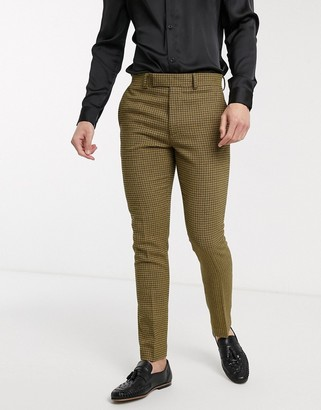 ASOS DESIGN skinny suit pants in navy and yellow wool blend microcheck