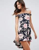 AX Paris Hi Lo Bandeau Dress In Floral Print
