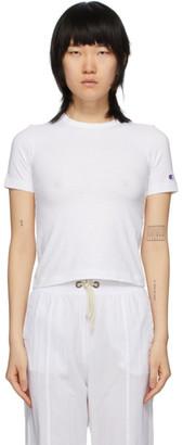 Champion Reverse Weave White Logo Tight Crop T-Shirt