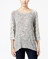 Style&Co. Style & Co. Lace-Trim Heathered Top, Only at Macy's