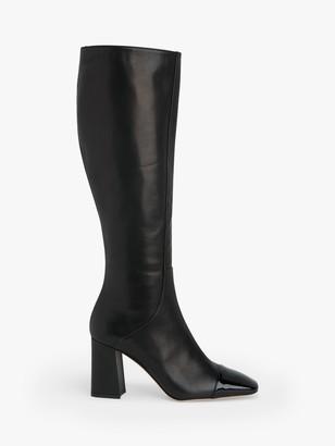 LK Bennett Bess Leather Toe Cap Knee Boots, Black
