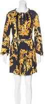 Versace Chain-Embellished Ornate Print Dress