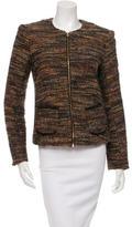 L'Agence Tweed Leather-Trimmed Jacket