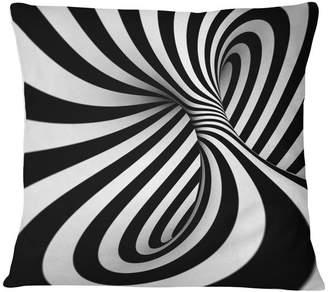 "N. Design Art Usa Spiral Black White Contemporary Throw Pillow, 16""x16"""
