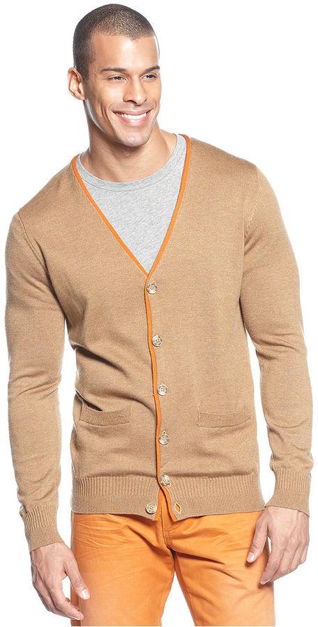 Sean John Big & Tall Sweater, Elbow Patch Cardigan