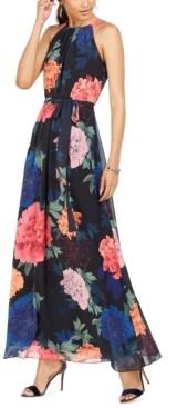 SL Fashions Floral-Print Halter Maxi Dress