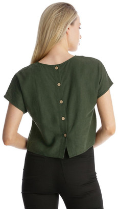 Miss Shop Linen Blend Shell Top With Back Buttons In Khaki