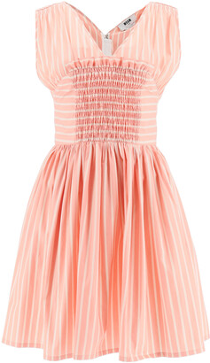 MSGM STRIPED SHORT DRESS 38 Pink, White Cotton