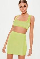 Missguided Lime Disco Mini Skirt