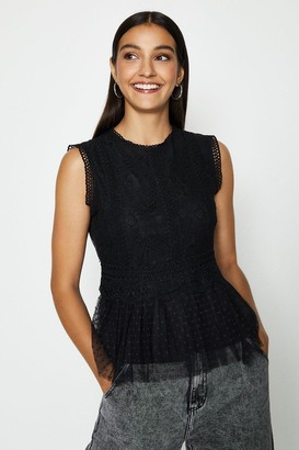 Coast Lace Shell Top With Spot Tulle Hem