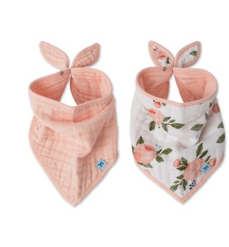 Little Unicorn Bandana Drool Bib 100% Cotton Muslin Watercolour Roses 2-Pack