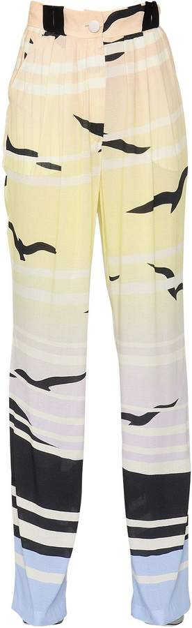 DANIELE CARLOTTA Printed Fluid Viscose Pinpoint Pants