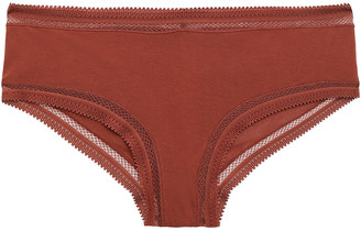 Commando Crochet-trimmed Cotton-jersey Mid-rise Thong