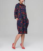 JET Blue & Red Roses Cowl Neck Shift Dress