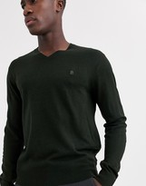 French Connection plain logo v neck knit jumper-Green