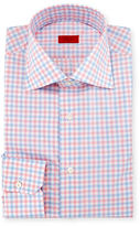 Isaia Two-Tone Gingham Mitered-Cuff Dress Shirt