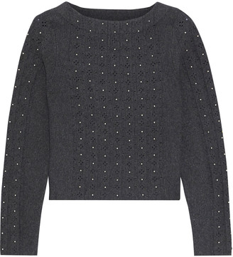 Sandro Bead-embellished Pointelle And Stretch-knit Sweater