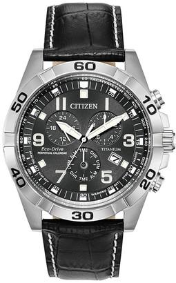 Citizen Men's Standard Leather Eco-Drive Watch, 43mm