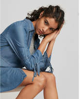 Express tiered sleeve denim shirt dress