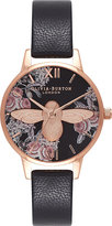 Olivia Burton OB16AM100 Moulded Bee rose gold-plated and leather watch