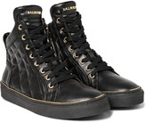 Balmain - Quilted Leather High-top Sneakers