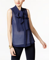 MICHAEL Michael Kors Sheer Tie-Neck Blouse