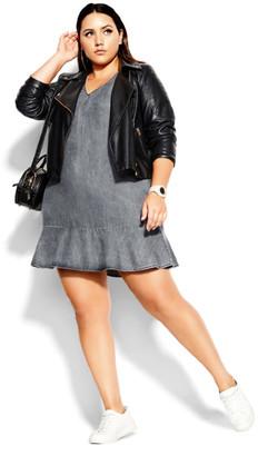 City Chic Denim Frill Dress - black