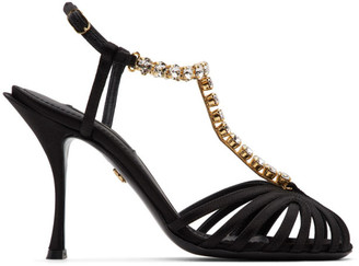 Dolce & Gabbana Black Crystal Strap Heeled Sandals