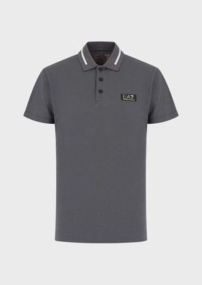 Ea7 Pique Polo Shirt With Logo Patch